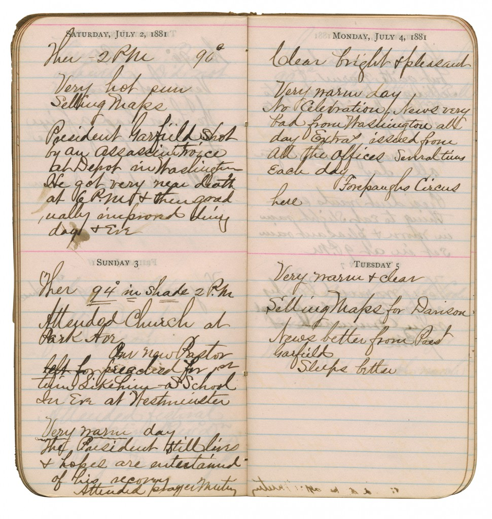 Handwritten diary pages showing July 2 - 5, 1881 and recording assassination of President Garfield