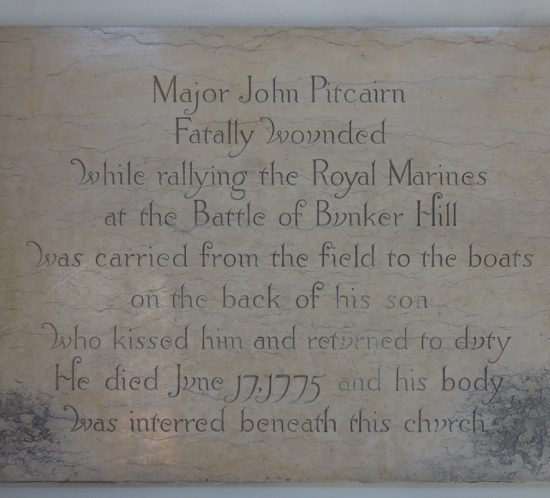 Beautiful engraved plaque, Boston, honoring John Pitcairn, Battle of Bunker Hill
