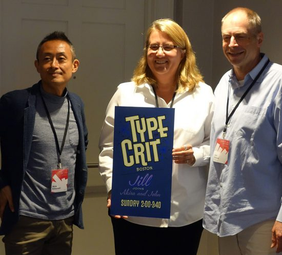 2017 TypeCon Type Crit judges John Downer, Akira Kobayashi and Jill Pichotta