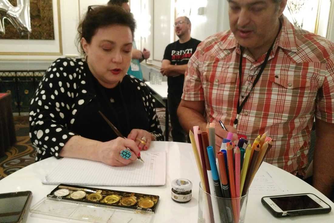 Xandra Y. Zamora giving calligraphy demo, TypeCon 2017, Boston