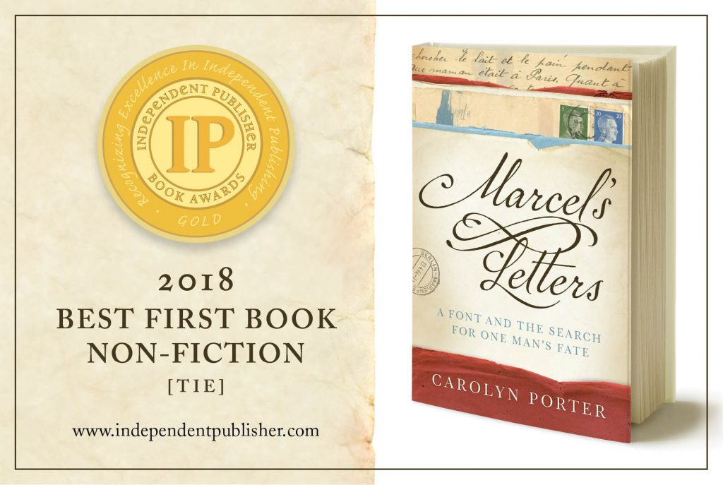 Front cover of book, Marcel's Letters, with announcement of IPPY Gold Medal