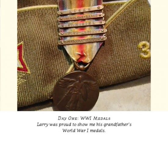 Hat and WWI medals earned by Larry's Fritz' father