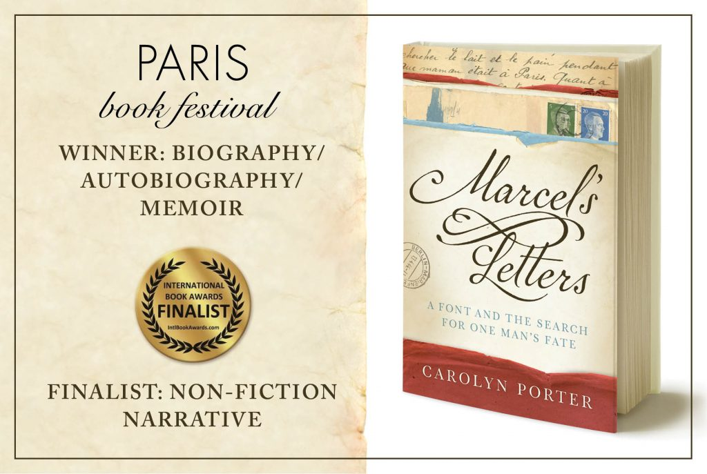 Front cover artwork of book, Marcel's Letters, with announcement of both Paris Book Award and International Book Award
