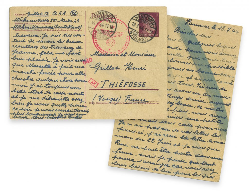 Handwritten postcard mailed July 18, 1944 from Hannover, Germany by French Forced Laborer A. Grillot