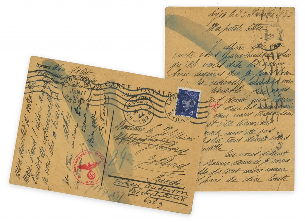 Front and back of yellowed postcard written December 23, 1943