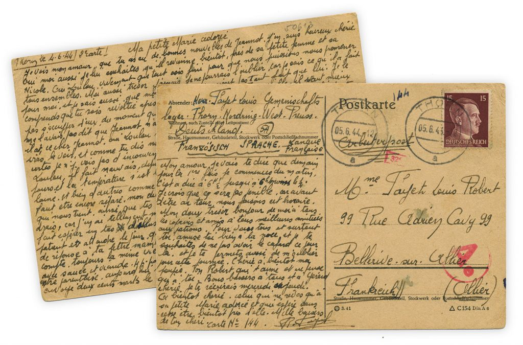 Front and back images of postcard written by French Forced Laborer Louis-Robert Fayet on June 4, 1944
