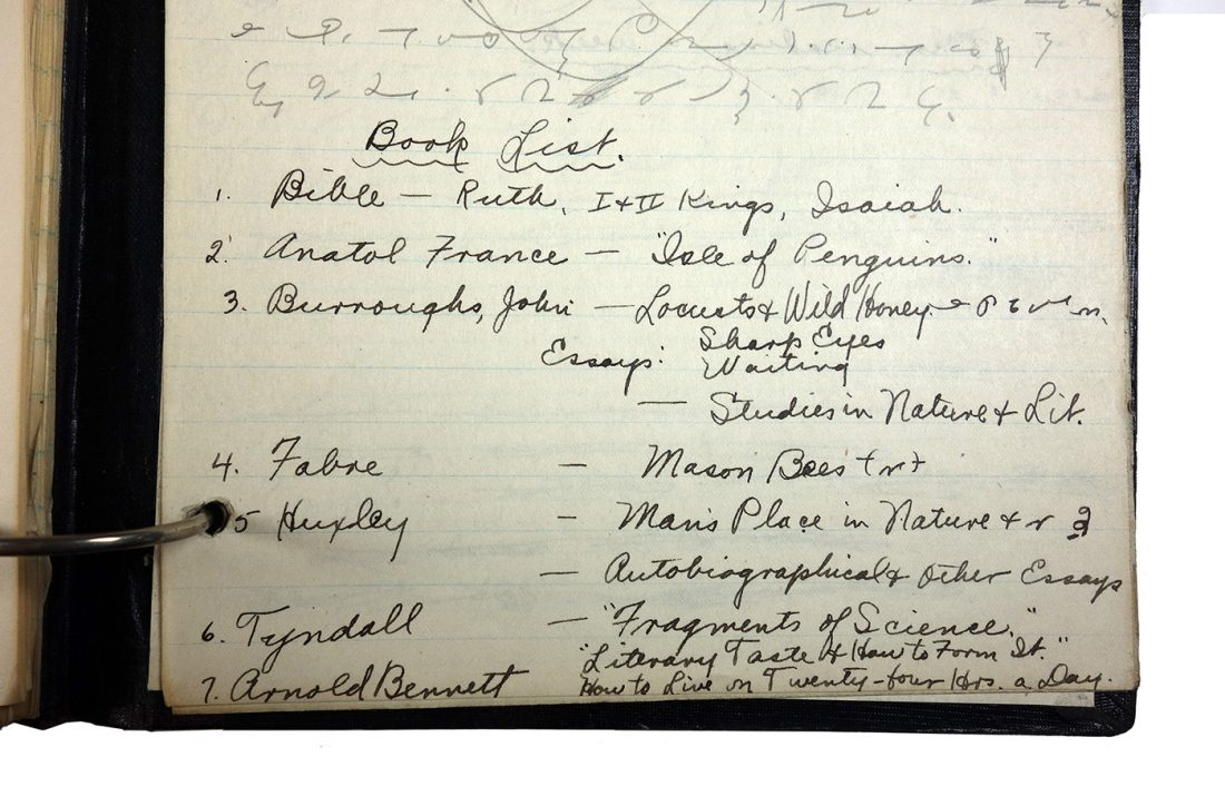 Binder with handwritten class notes, made in 1921/1922 by Charlotte Cummings while at the University of Wisconsin-Madison. Page shows reading list, which includes the Bible, Anatol France, John Burroughs, Fabre, Huxley, Tyndall and Arnold Bennett.