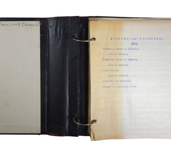 Binder with notes from Drawing and Painting classes, made by Charlotte R. Cummings in 1921/1922 while at the University of Wisconsin-Madison