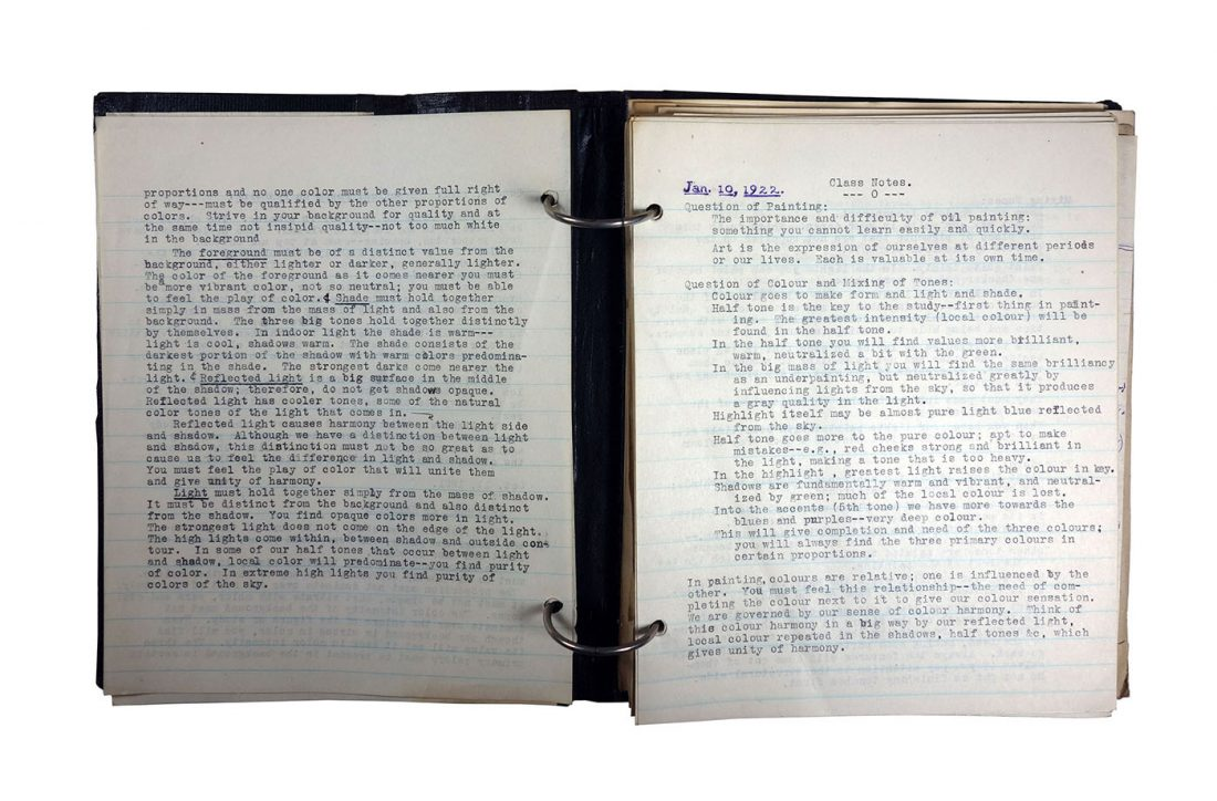 "Binder with typed class notes; made in 1921/1922 by Charlotte Cummings while at the University of Wisconsin-Madison. Top of page says ""Jan. 10, 1922, Class Notes, Question of Painting:"""