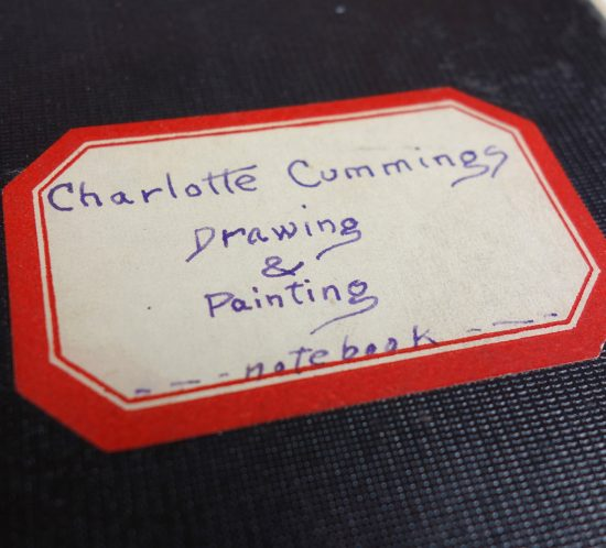 "handwritten nameplate on class notebook: reads ""Charlotte Cummings, Drawing & Painting, Notebook"""