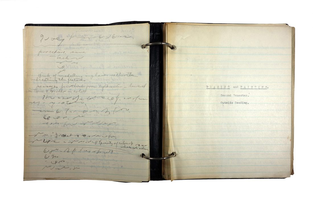 "Binder with typed and handwritten class notes, made in 1921/1922 by Charlotte Cummings while at the University of Wisconsin-Madison. Left-hand page was written in shorthand, the right-hand pages shows the beginning of a section on ""Drawing and Painting, Second semester."""
