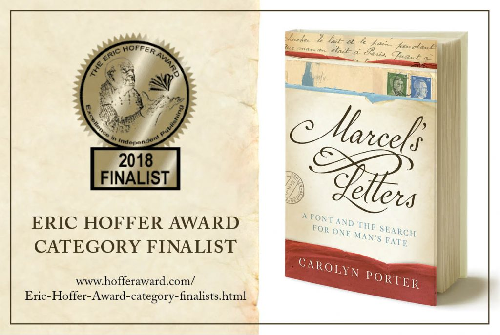 "Image of cover of book ""Marcel's Letters"" next to Eric Hoffer Book Award Finalist badge."