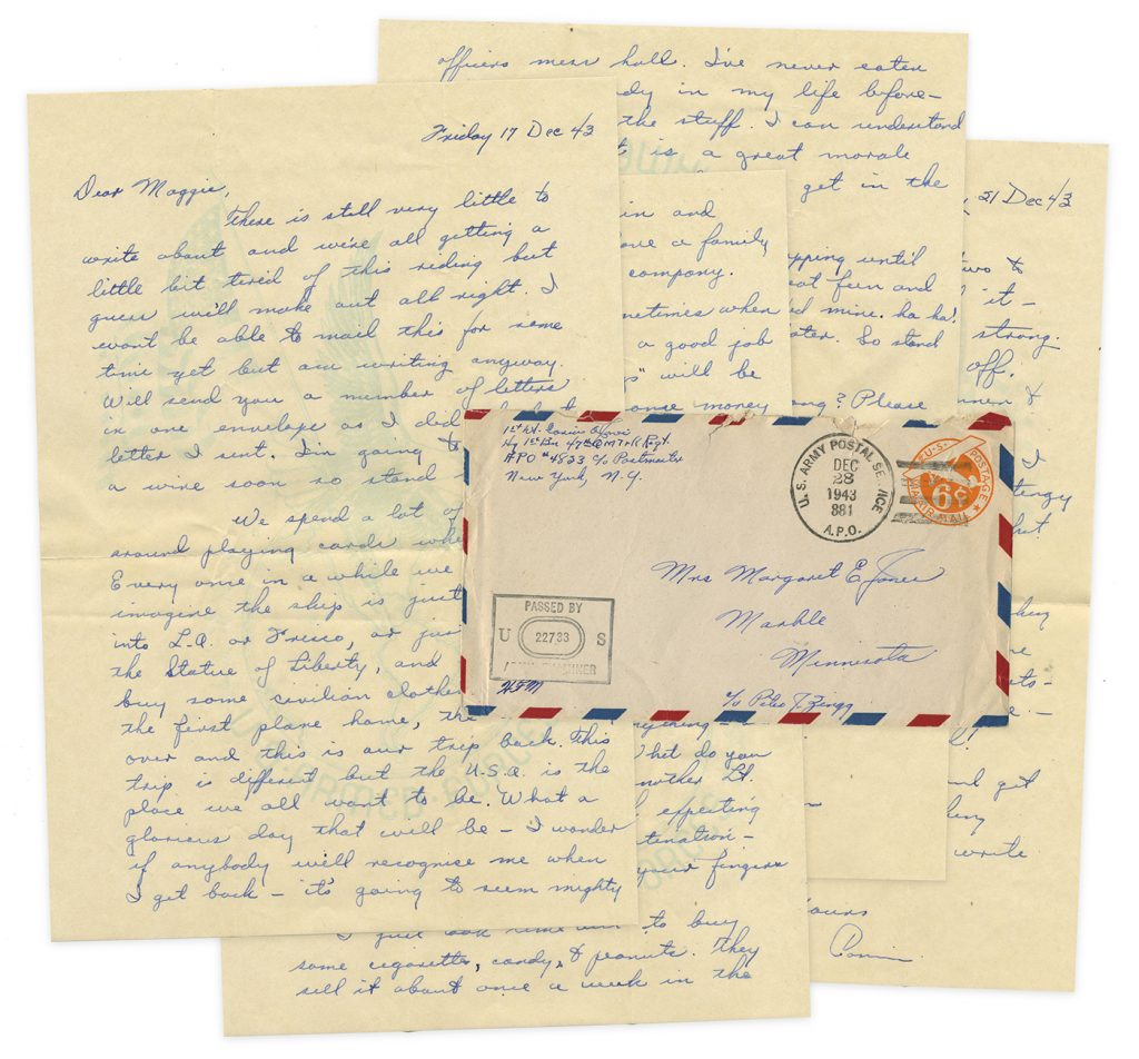 Four page handwritten letter, written December 17, 1943