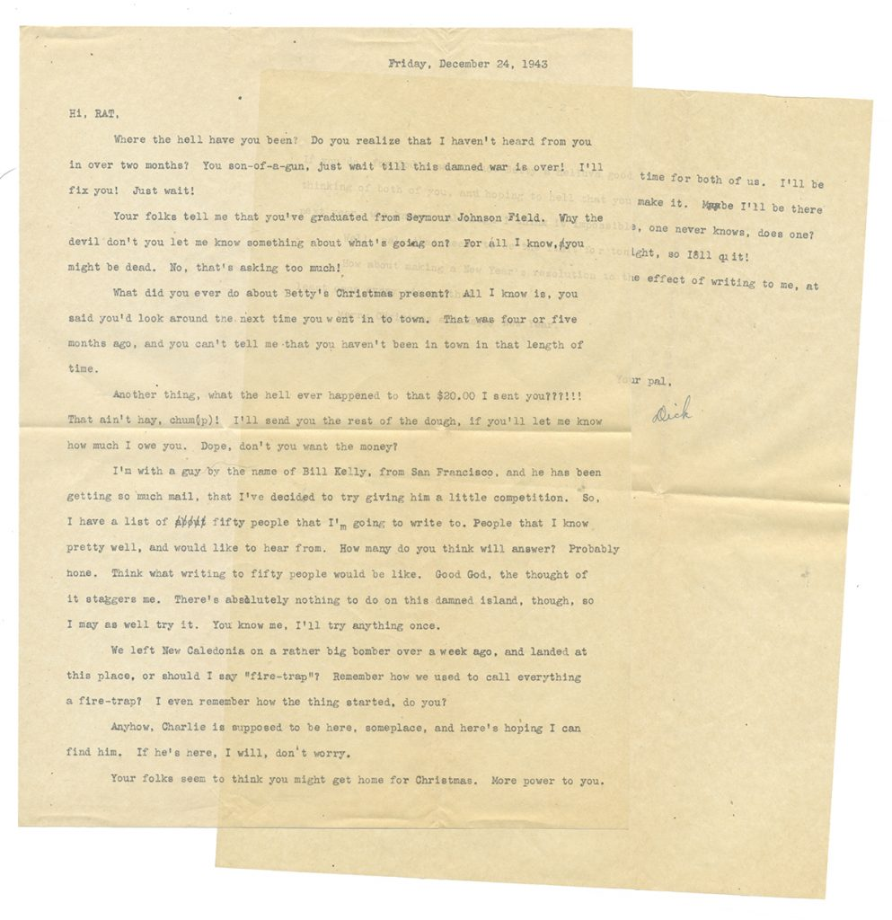 Typewritten letter, two-pages, on tissue-thin paper, written Christmas Eve 1943