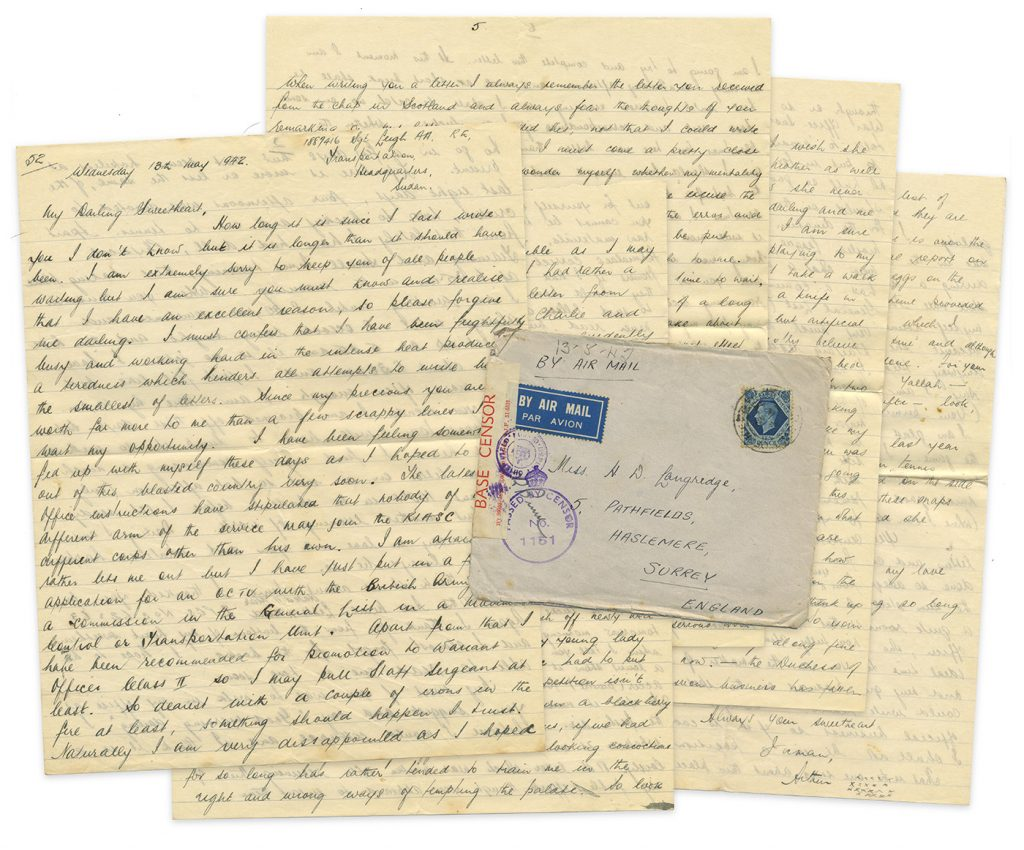 10-page handwritten letter written by love-lorn British soldier stationed in Sudan, May 1942