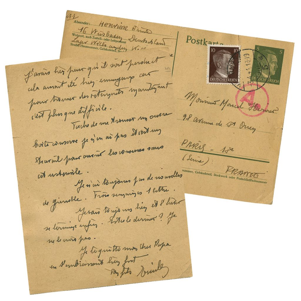 front and back of handwritten postcard, mailed April 2, 1944