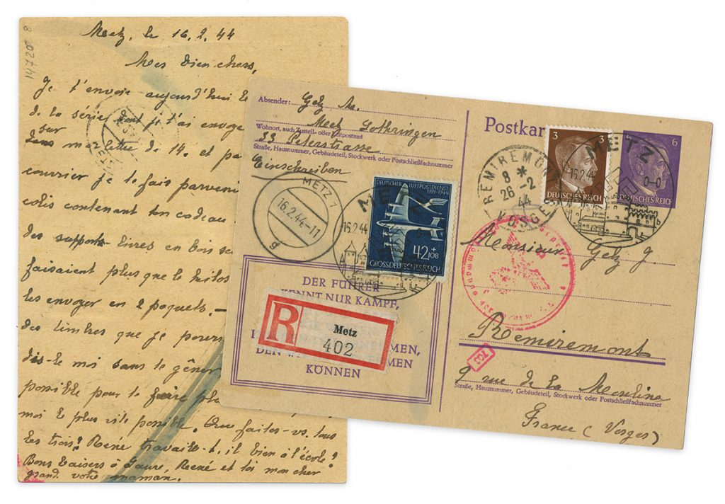 Front and back side of handwritten postcard from WWII