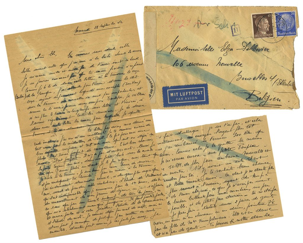 Handwritten WWII letter, written in French in black ink, covered with four chemical censor marks.