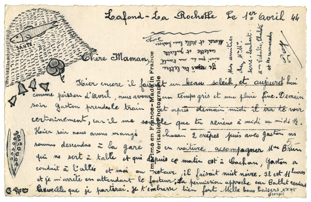 Handwritten WWII postcard, written in French, with hand-drawn fish basket and Lily of the Valley