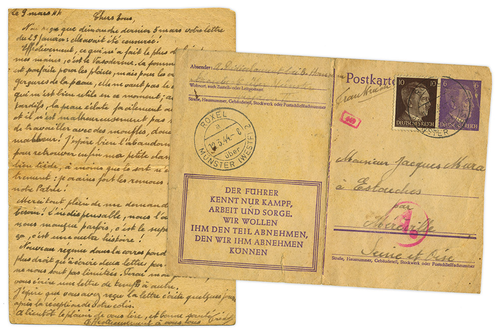 Front and back of postcard written March 9, 1944 by WWII French forced laborer in Roxel, Germany. Paper is yellow and tiny cursive handwriting is in dark brown ink.