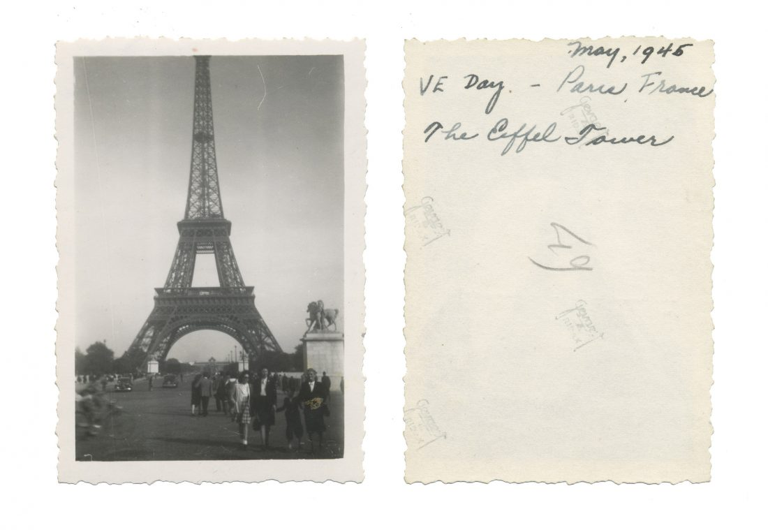 Photo taken on VE Day in Paris; shows Eiffel Tower