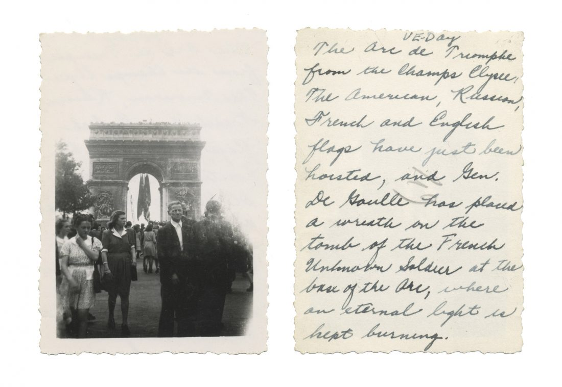 Photo taken on VE Day in Paris; shows Arc de Triomphe