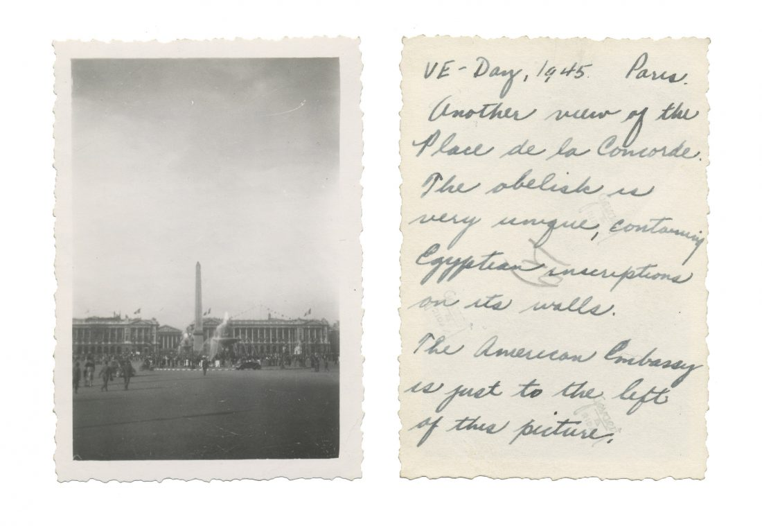 Photo taken on VE Day in Paris; shows Place de la Concorde