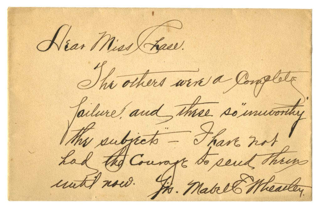 Undated envelope with beautiful handwriting expressing disappointment (subject of disappointment unknown)