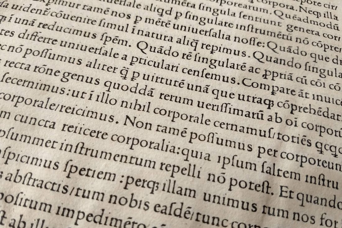 Close up photo of late 15th Century printed page; Letterform Archive, San Francisco