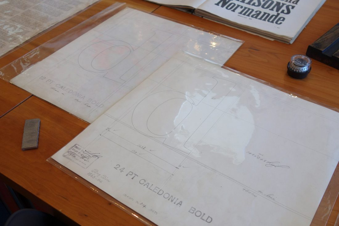 Original proofs of Caledonia Bold; Letterform Archive, San Francisco