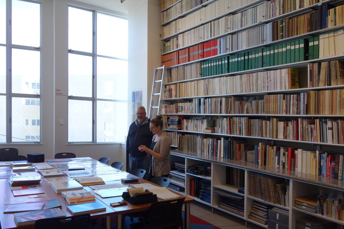 Reading Room, Letterform Archive, San Francisco. In front is curator Kate Long