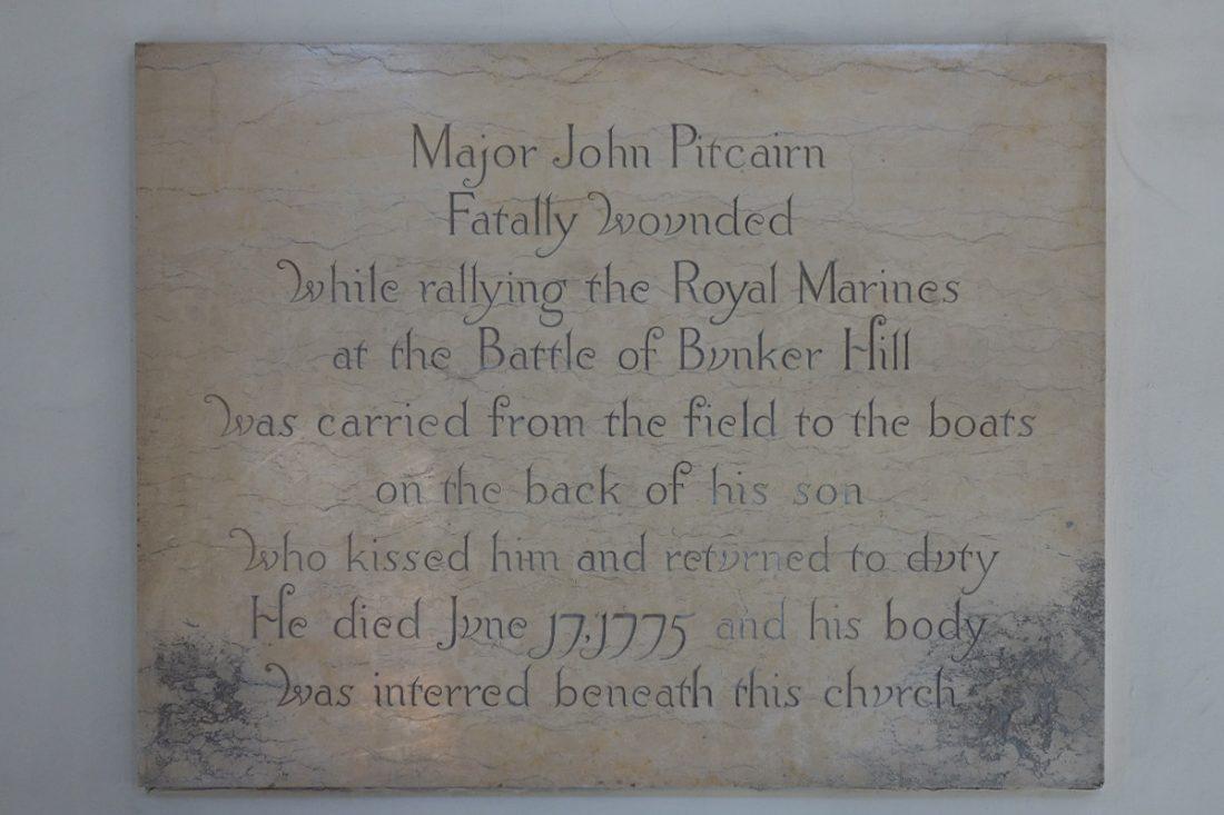 Beautiful engraved plaque, Boston, honoring John Pitcairn, Battle of Bunker Hill