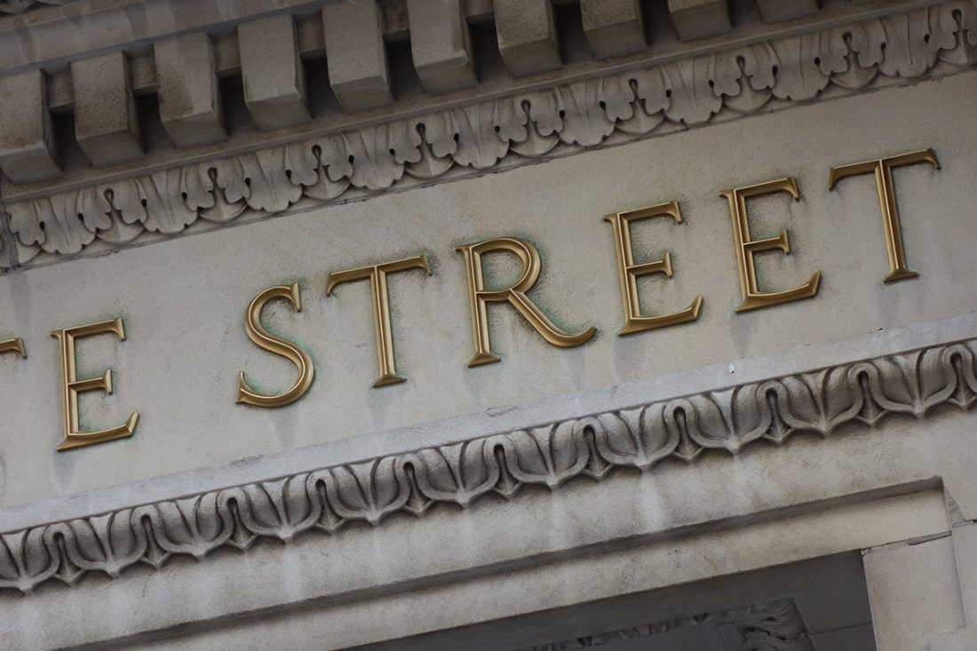 "Building signage with beautiful letters showing word ""STREET"", Boston"