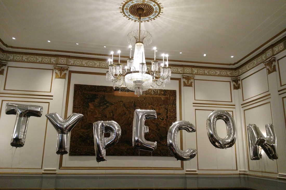 TypeCon spelled out in balloons, TypeCon Boston 2017