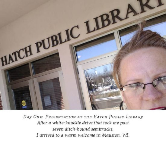 Carolyn Porter standing in front of the Hatch Public Library, Mauston, WI