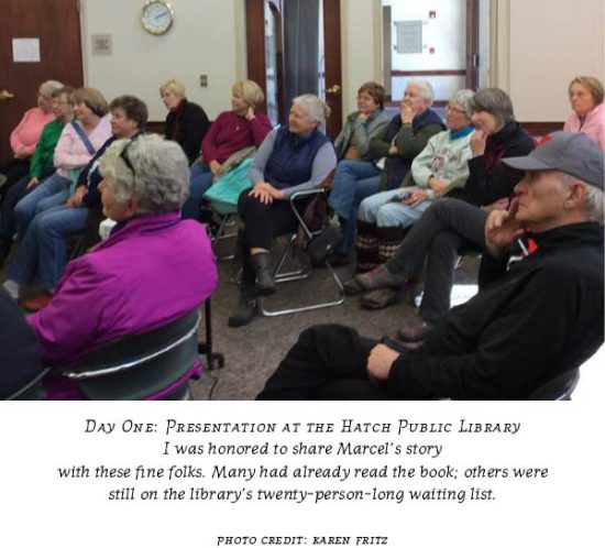 """Carolyn Porter's presentation on book """"Marcel's Letters"""" at Hatch Public Library, Mauston, WI"""