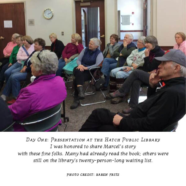 "Carolyn Porter's presentation on book ""Marcel's Letters"" at Hatch Public Library, Mauston, WI"