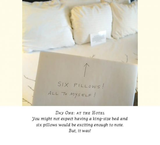 """Photo showing hand-held sign pointing to hotel bed with six plush pillows; the sign says """"Six pillows! All to myself!"""""""