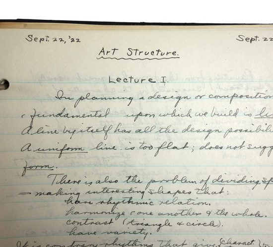 """Handwritten class notes from September 22, 1922. Top of page reads """"Art Structure"""" and """"Lecture 1"""""""