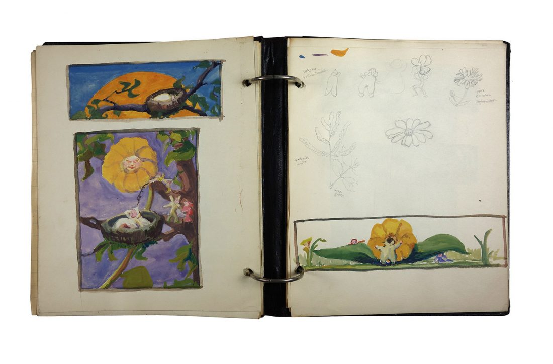 Binder with class notes, made in 1921/1922 by Charlotte Cummings while at the University of Wisconsin-Madison. Interior page showing color study using blues, oranges and purples.