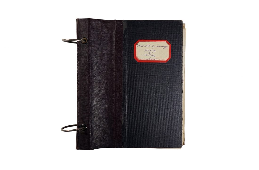 """Binder with class notes, made in 1921/1922 by Charlotte Cummings while at the University of Wisconsin-Madison. Label on front of binder says """"Drawing and Painting notebook."""""""
