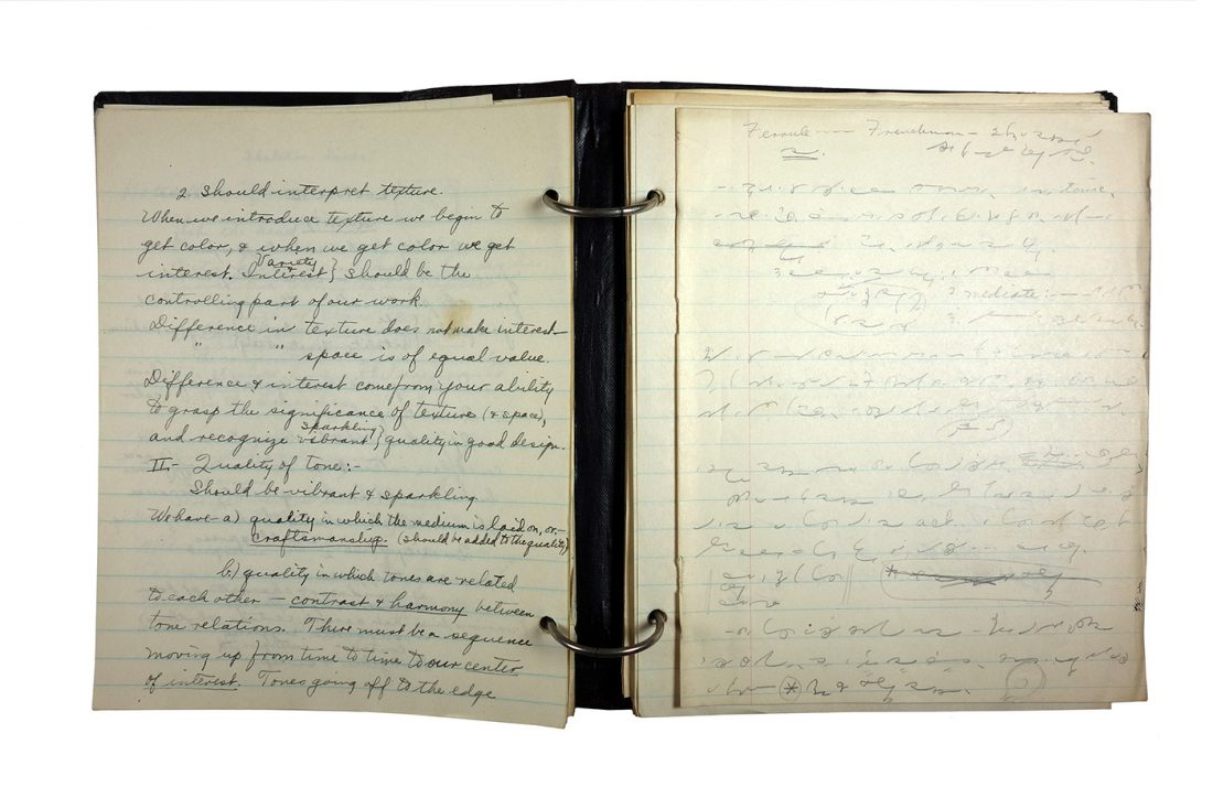 Binder with handwritten class notes from Drawing and Painting classes, made in 1921/1922 by Charlotte Cummings while at the University of Wisconsin-Madison