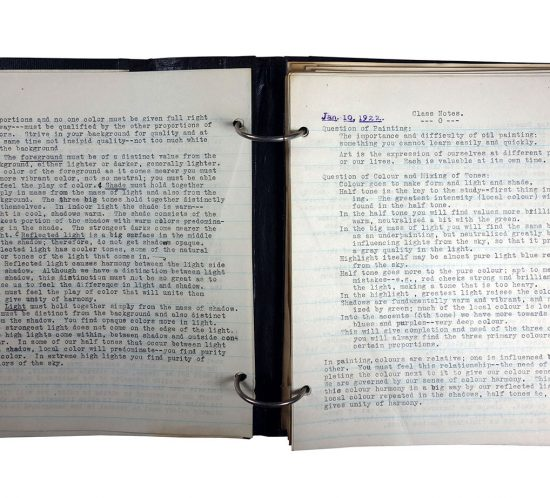"""Binder with typed class notes; made in 1921/1922 by Charlotte Cummings while at the University of Wisconsin-Madison. Top of page says """"Jan. 10, 1922, Class Notes, Question of Painting:"""""""