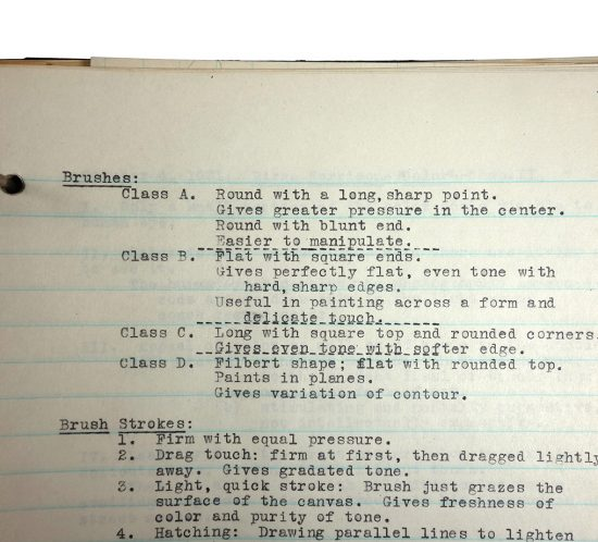 Binder with typed class notes, made in 1921/1922 by Charlotte Cummings while at the University of Wisconsin-Madison. Page outlines types of paint brushes, assigns Class A, B, C, or D, and explains what each class of brushes is ideal for.