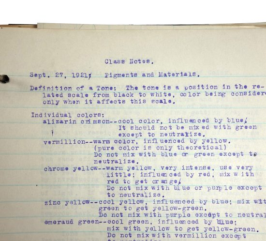 """Binder with typed class notes, made in 1921/1922 by Charlotte Cummings while at the University of Wisconsin-Madison. Top of page reads, """"Class Notes, Sept. 27, 1921: Pigments and Materials"""""""