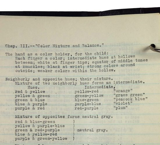 """Binder with typed class notes, made in 1921/1922 by Charlotte Cummings while at the University of Wisconsin-Madison. Top of page reads, """"Chap III - Color Mixture and Balance."""""""