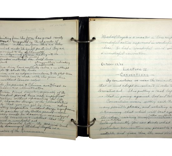 Binder with handwritten class notes, made in 1921/1922 by Charlotte Cummings while at the University of Wisconsin-Madison. Notes were made during painting classes/lectures.