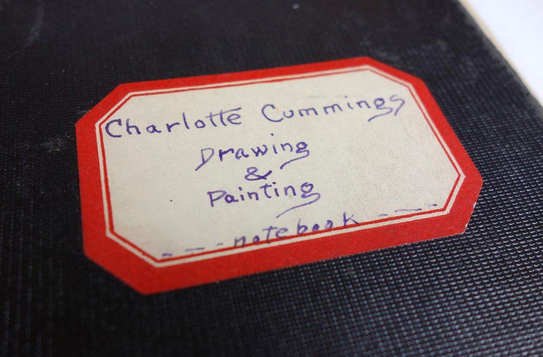 "handwritten nameplate on class notebook: reads ""Charlotte Cummings, Drawing & Painting, Notebook"""
