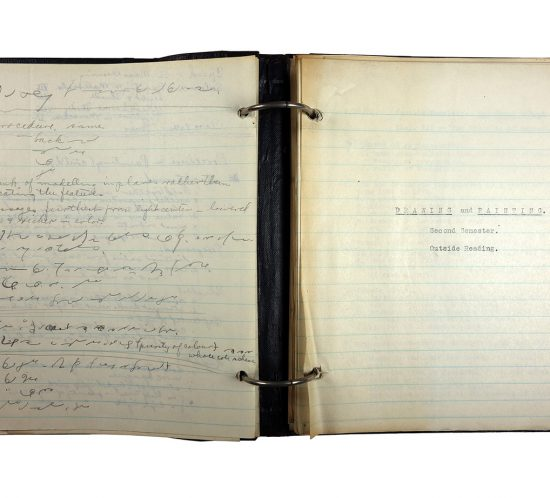 """Binder with typed and handwritten class notes, made in 1921/1922 by Charlotte Cummings while at the University of Wisconsin-Madison. Left-hand page was written in shorthand, the right-hand pages shows the beginning of a section on """"Drawing and Painting, Second semester."""""""