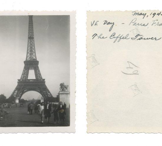 Photo taken on VE Day in Paris; shows Eiffel Tower